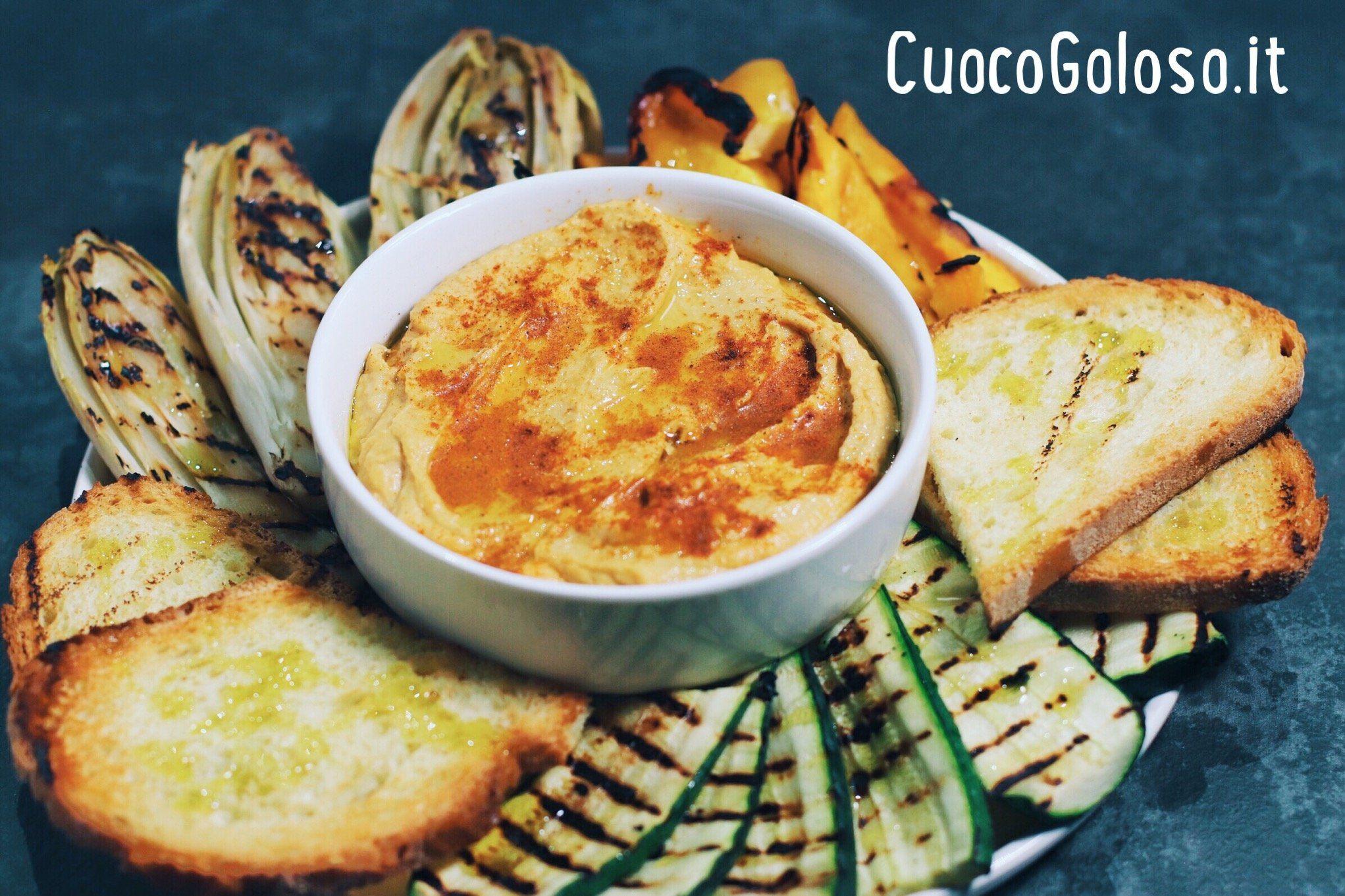 Hummus di Ceci con Verdure grigliate e Crostoni di Pane