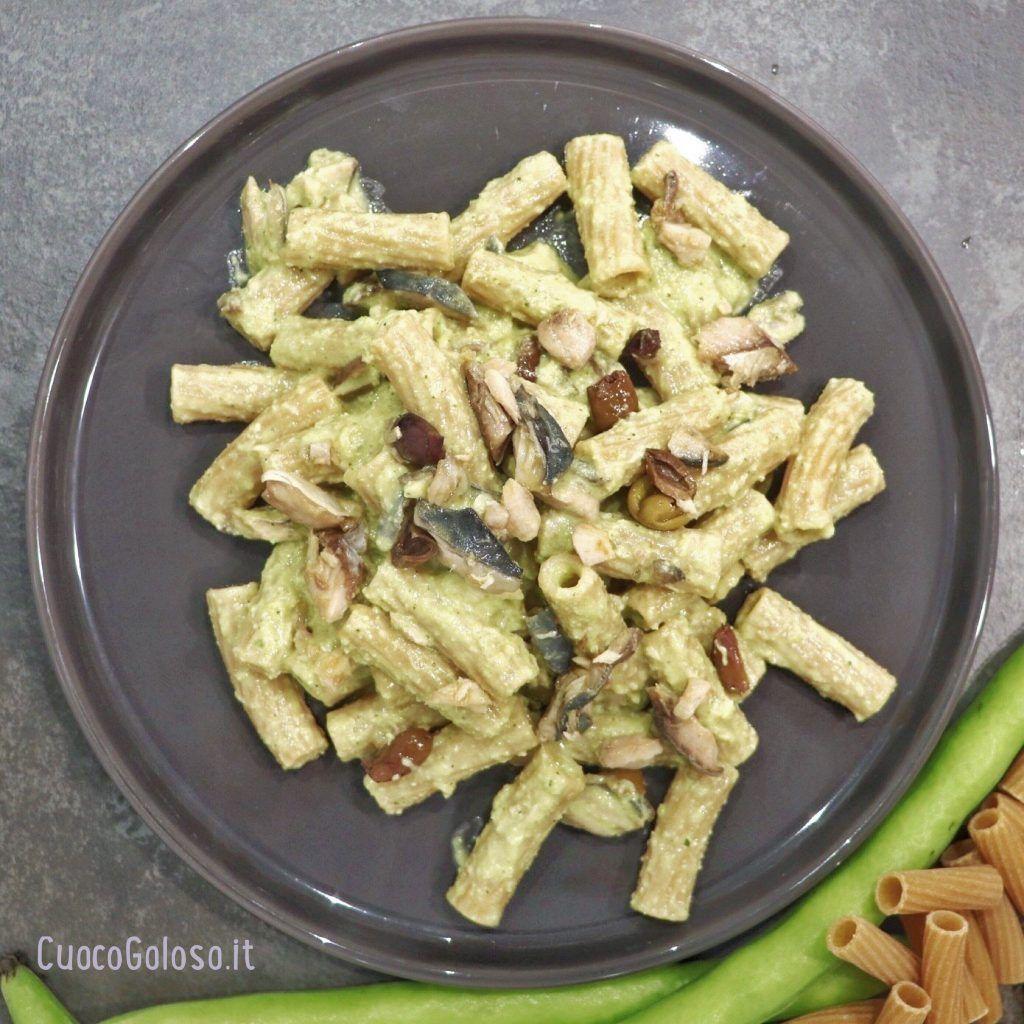 26C2F693-D8A5-4C81-AD5C-554C6F02E4FB-1024x1024 Maccheroni Integrali con Pesto di Fave, Sgombro e Olive Taggiasche