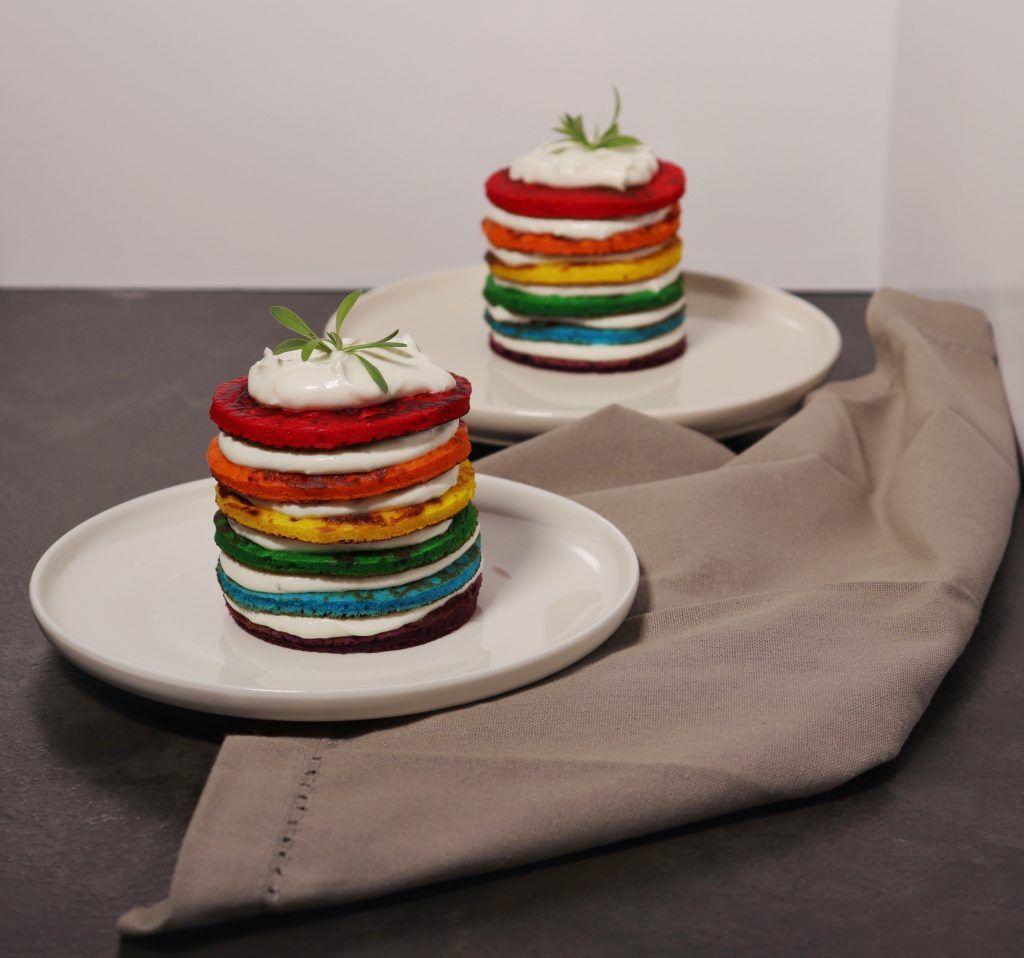 673CA31C-8F62-4089-90CF-4B5DB7FFFEDC-1024x958 Rainbow Pancakes Salati con Crema di Formaggio Caprino e Limone