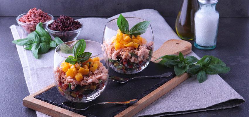 SITO-1-850x400 Insalata di Risi Scuri e Verdure con Salmone e Mango
