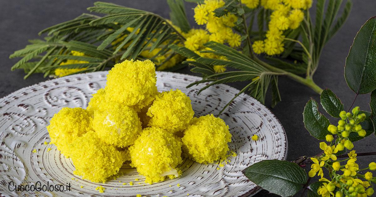 Tartufini Mimosa al Cioccolato Bianco con Cuore di Nocciola