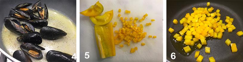 FOTOPASSAGGI-4-1 Gnocchi di Robiola e Spirulina Blu con Cozze e Peperoni Gialli