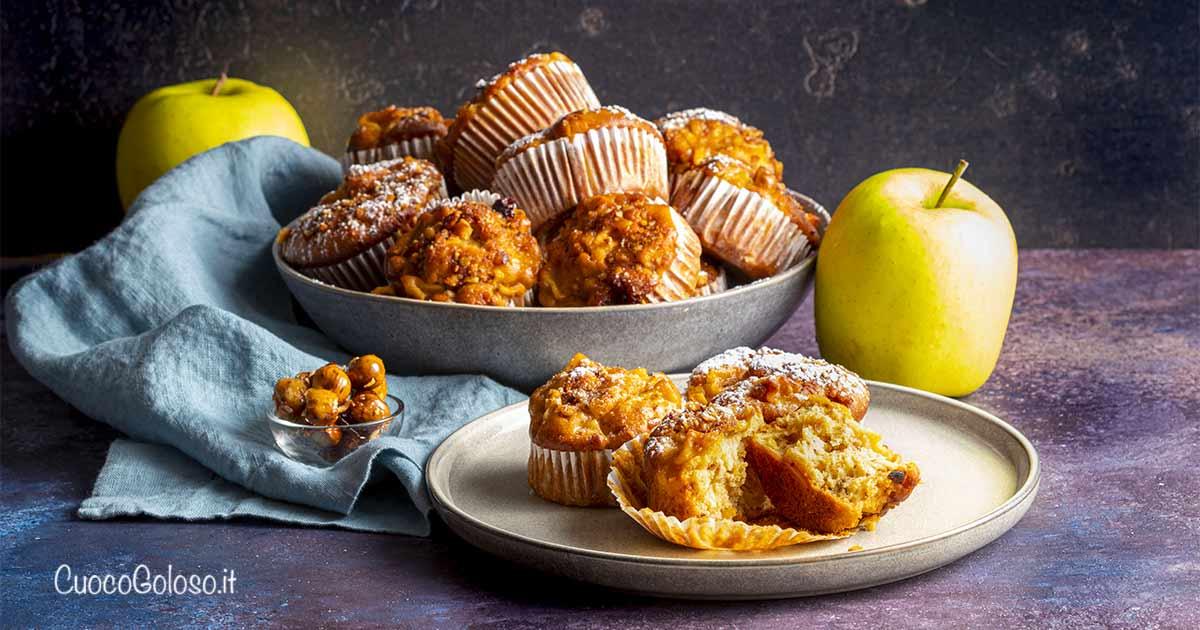 Muffin con Mele e Croccante alle Nocciole